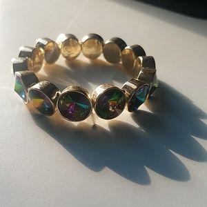 Betsey Johnson Green Holographic Stretch Bracelet